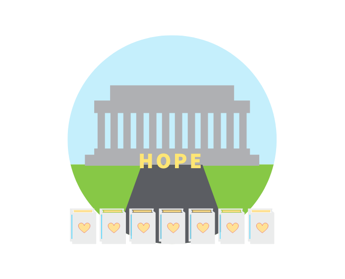 Illustration of the word HOPE and lumenaria in front of the Lincoln Memorial