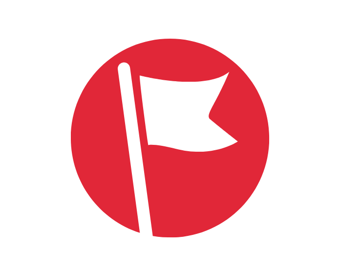 illustration of a white flag in a red circle