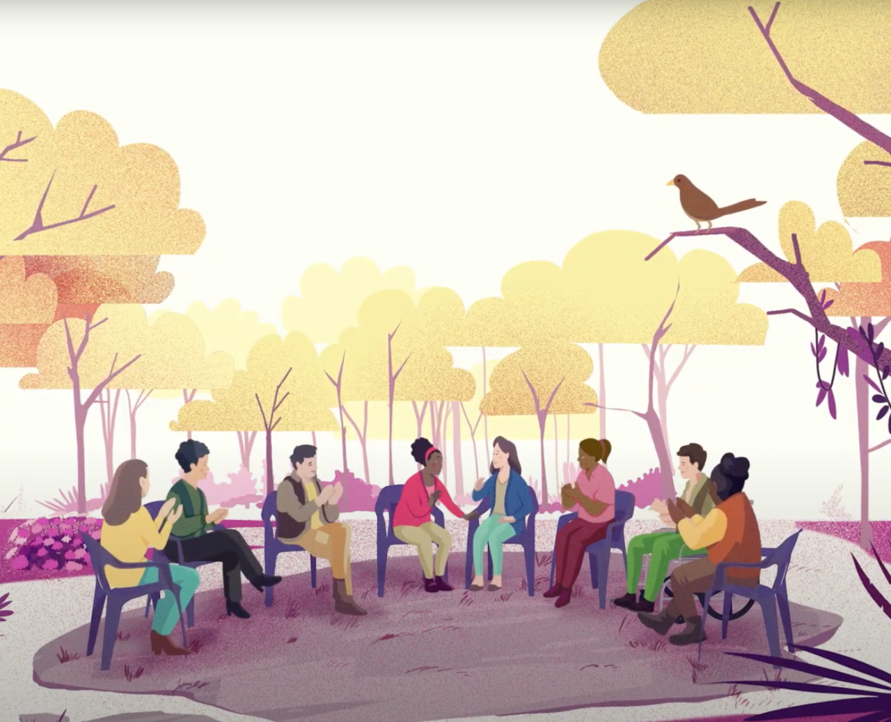 illustration of people gathering at a park