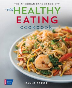 cover of The New Healthy Eating Cookbook shows a plate of healthy pasta and shrimp dish