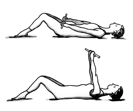 Illustration showing woman lying on her back with her knees bent and feet flat   on the floor.  She is holding a wand across her stomach with both hands facing   up. Second illlustration shows woman in same position but she has lifted the   wand up over her head.