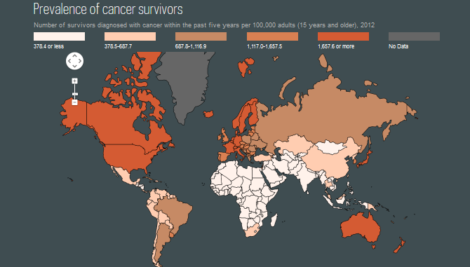 Prevalence of cancer survivors map