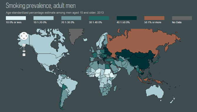 map showing smoking prevalence for adult men