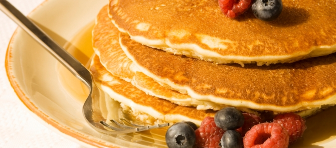 close up of plate of pancakes