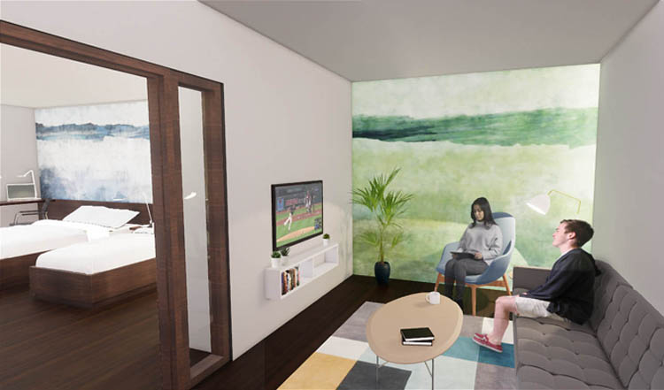 Cleveland, OH Hope Lodge rendering of new guest room suite