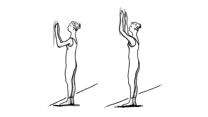 Illustration showing a woman, standing and facing a wall with her hands on the wall.
