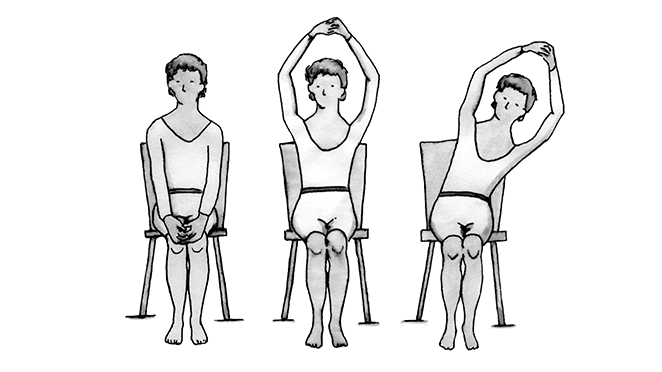 Series of illustrations showing a woman, first sitting in a chair with her hands clasped together in front of her, second with her arms over her head and third with her arms over her head and bending her trunk to the right.
