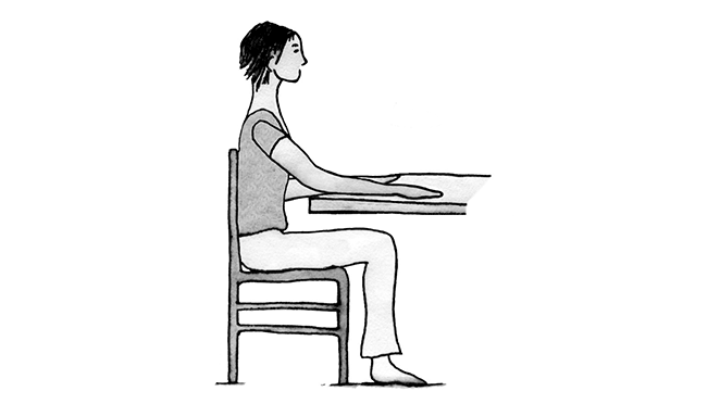 Illustration showing woman sitting in a chair close to a table with her back against the chair and arm on the table with elbow bent and palm down.