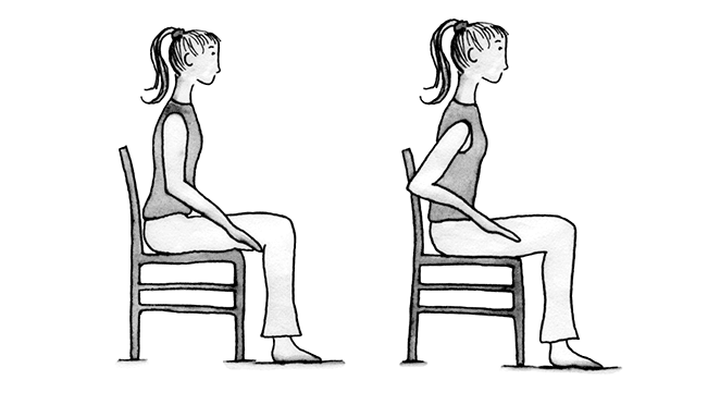 Illustration of a woman sitting in a chair with her face straight ahead, arms at her sides with elbows bent. Second illustration shows woman in same chair but with her elbows behind her.