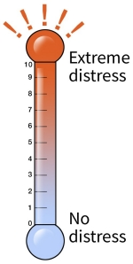 Illustration of a distress thermometer to measure the amount of stress someone has had during the past week.  Goes from 0 (no distress) to 10 (extreme distress)