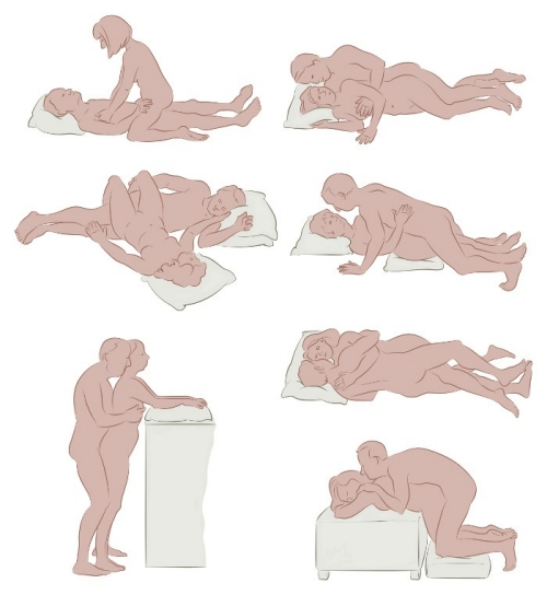 illustration showing seven sexual positions that may help in resuming sex after having cancer