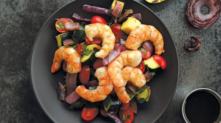 "image of Grilled Shrimp & Veggies with Balsamic Reduction recipe from the ACS cookbook, ""Quick and Healthy: 50 Simple Delicious Recipes for Every Day"""