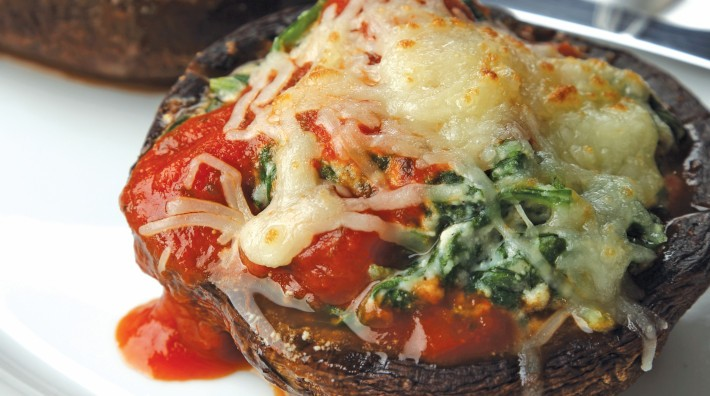 "image of Spinach-Ricotta Stuffed Portobello Caps from the ACS cookbook, ""Quick and Healthy: 50 Simple Delicious Recipes for Every Day"""