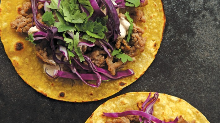 "image of Turkey & Red Cabbage Tortillas With Chipotle Sauce from the ACS cookbook, ""Quick and Healthy: 50 Simple Delicious Recipes for Every Day"""