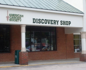 Front exterior photograph of the Roanoke, VA American Cancer Society Discovery Shop