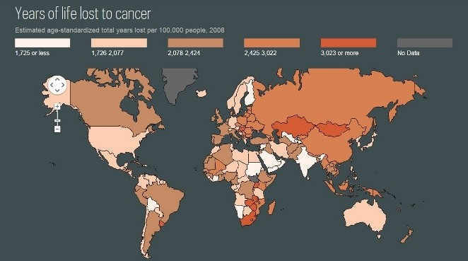 map from the Cancer Atlas showing the years of life lost to cancer in 2008
