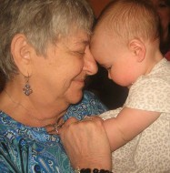 Photo of Kathy Harris holding her granddaughter