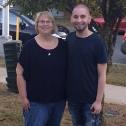 Diane Fleming and her son, Alex,standing outside