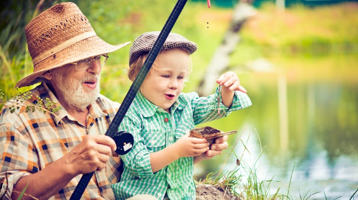 grandfather and his grandson fishing