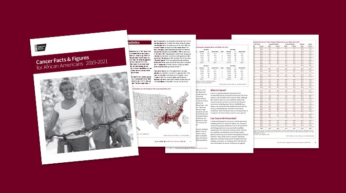 image showing the cover and several pages from the Cancer Facts and Figures for African Americans 2019-2021 publication