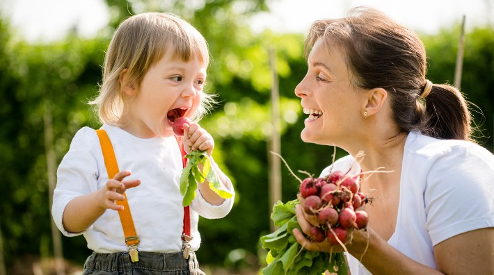 little girl eats a freshly picked radish as mother smiles at her