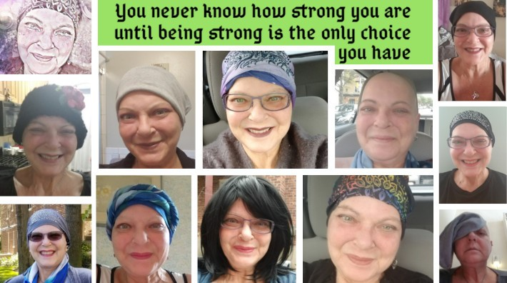 collage of pictures of cancer survivor, Phyllis Alsterberg, showing her progress through treatment