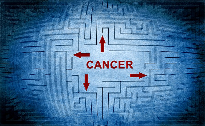 blue background with faint maze with the word cancer in red letters with 3 arrows in different directions