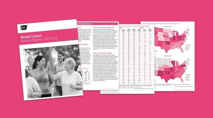 cover and several pages of the Breast Cancer Facts and Figures 2017-2018