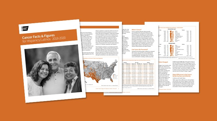 cover and pages from the Cancer Facts and Figures for Hispanics and Latinos report