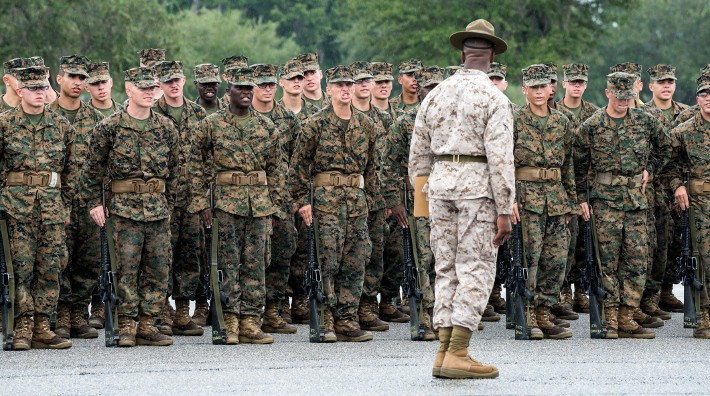 Recruits undergo basic training at Marine Corps Recruit Depot Parris Island in South Carolina