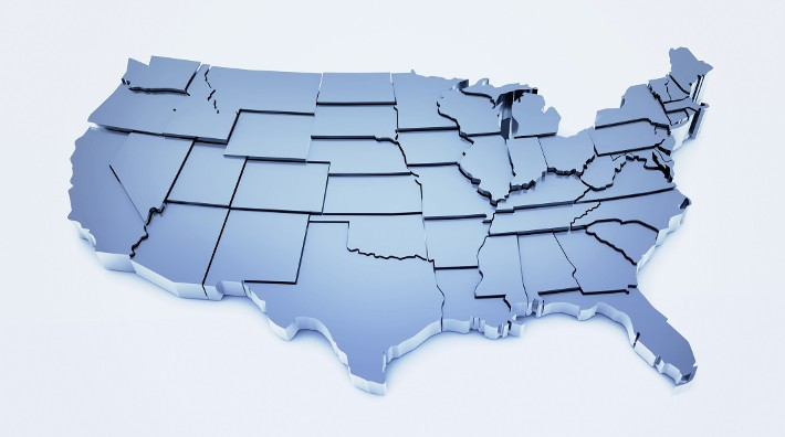 three dimensional geographic map of the United States