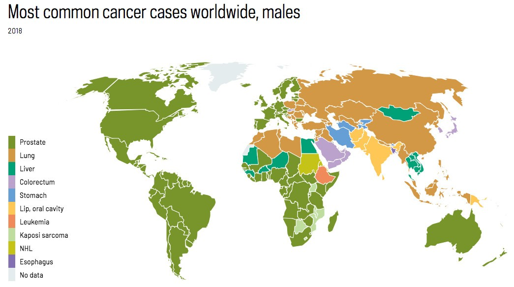map showing the most common cancer cases worldwide in males