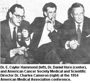 black and white photo of Dr. E. Cuyler Hammond, Dr. Daniel Horn, and American Cancer Society Medical and Scientific Director Dr. Charles Cameron at the 1954 American Medical Association conference.