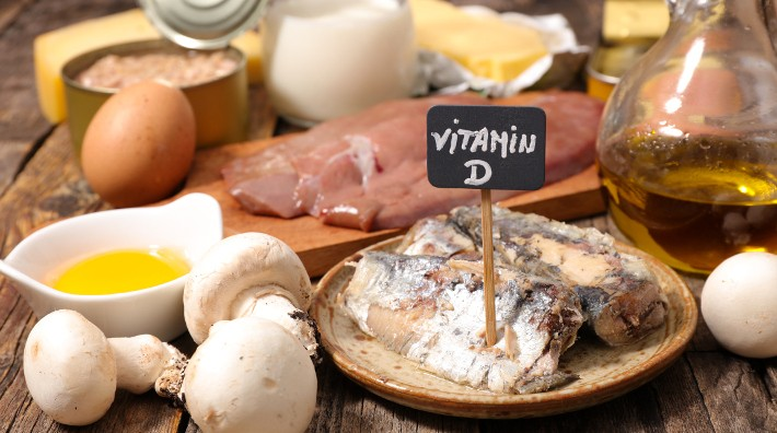 tabletop full of foods rich in vitamin D