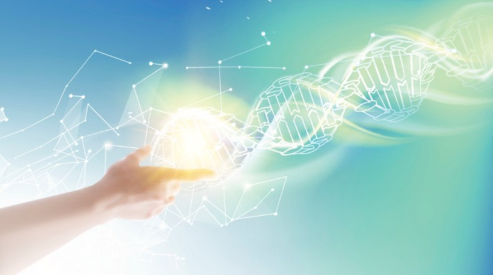 illustration showing a hand reaching out to a dna double helix