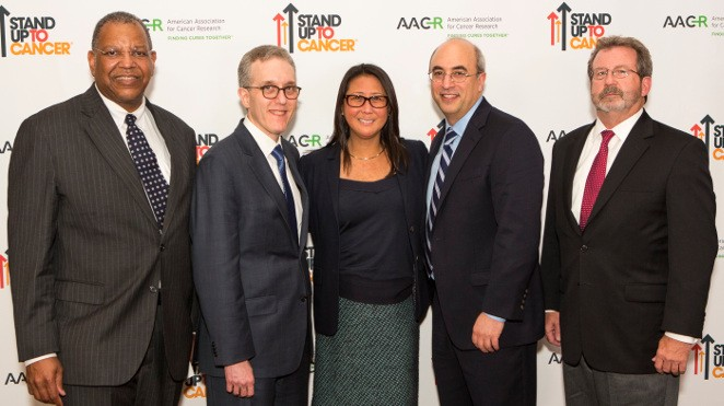 from left: Dr. Otis W. Brawley, American Cancer Society chief medical officer; Dr. Jedd Wolchok; Dr. Sung Poblete, SU2C president/CEO; Dr. Jeffrey Engelman; and Dr. William Chambers, SU2C-ACS Joint Scientific Advisory Committee.