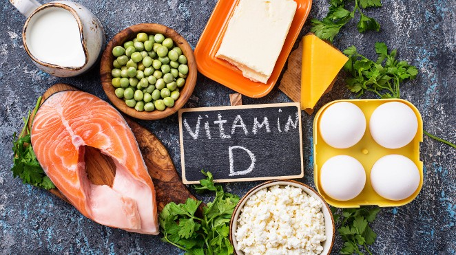selection of foods containing vitamin D