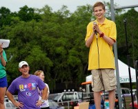photo of Cole Eicher speaking at a Relay for Life event